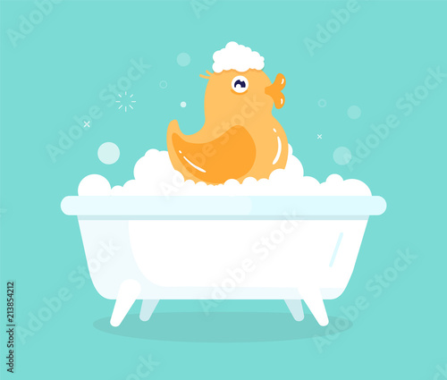 Cute cartoon yellow duck in bath with soapy bubbles Wallpaper Mural