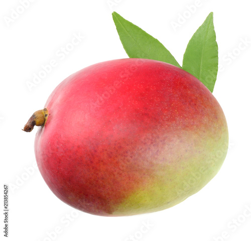 Foto op Aluminium Vruchten mango with green leaves isolated on white background. healthy food.
