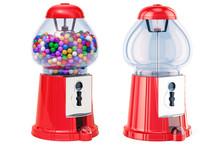Full Gumball Machine And Empty Gum Dispenser. 3D Rendering