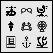 Simple 9 Set Of Summer Related Refrigerator, Submarine, Coral And Anchor Vector Icons
