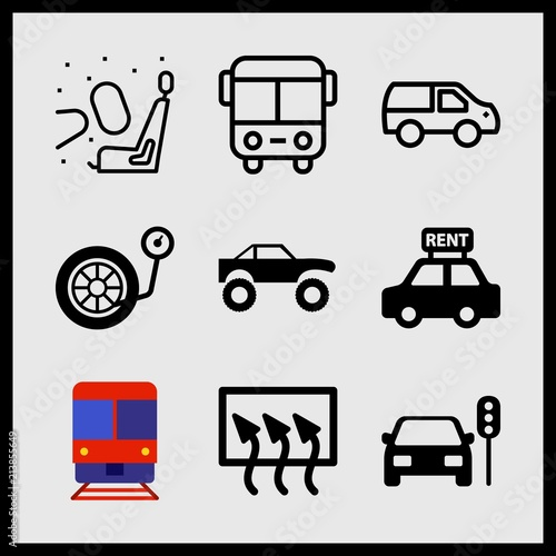 Fényképezés  Simple 9 icon set of car related car stopped traffic lights, car, rear window defrost and rent a car vector icons