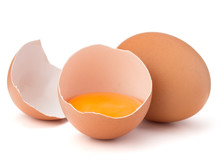 Broken Egg In Eggshell Half And Raw Egg Isolated On White Background Cutout