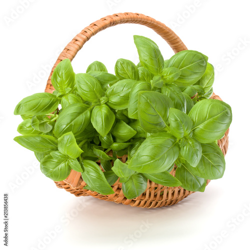 Deurstickers Aromatische Sweet basil herb leaves bunch in wicker basket isolated on white background cutout