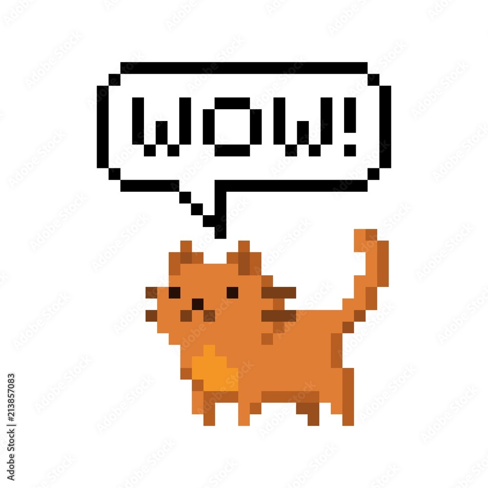 Cute red kitten domestic pet pixel saying wow - isolated vector