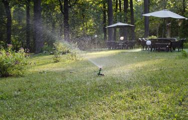 Obraz na płótnie Canvas Garden lawn watering system