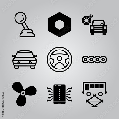 Fényképezés  Simple 9 icon set of electronics related car, steering wheel, car with cogwheels and repairing bus vector icons