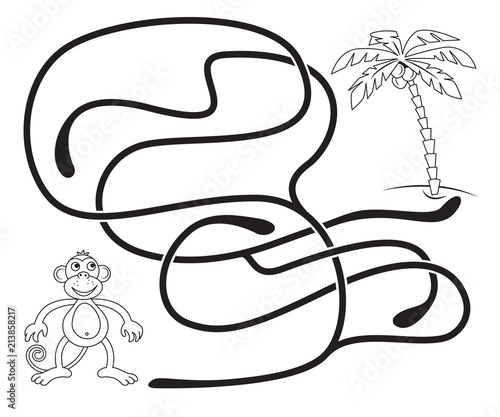 Maze Game For Kids Help The Monkey To Get To The Coconut Palm Tree