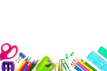 School Supplies Bottom Border Isolated On A White Background