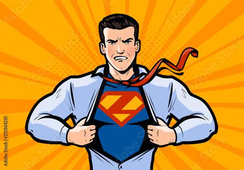 Superbohater lub biznesmen łzy koszulę. Ilustracja wektorowa w stylu pop-artu, komiks