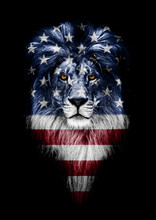 Portrait Of A Beautiful Lion, Faceart And Patriotism Concept. Portrait Of A Leader. King. Portrait Of A Lion With A Projection Of The Flag Of The France. Patriot Of His Country
