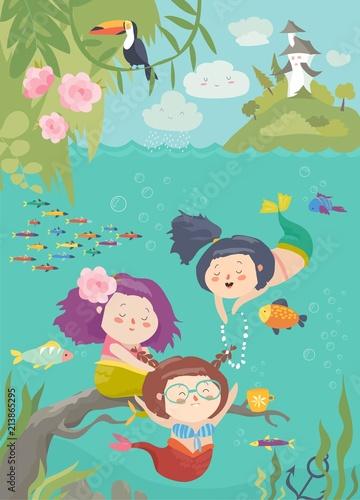 Kreskówka syreny z pięknym podwodnym światem