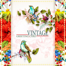 Greeting Vintage Card With Flowers. Wild Flower, Cornflower, Poppy, Camomile, Lily Of The Valley And Nightingales Around. This Template Can Be Used As Other Type Of Invitations And Holidays. Vector