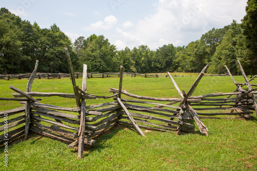 Fotografering  Split-Rail Fence and Meadow
