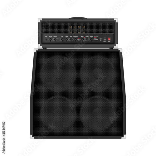 Realistic modern rock amplifier with cabinet speaker, vector illustration Canvas Print