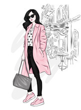 Beautiful, Tall And Slender Girl In A Stylish Coat, Trousers, Glasses, With Glasses. Stylish Woman In High-heeled Shoes. Fashion & Style. Vector Illustration.