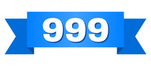 999 Text On A Ribbon. Designed With White Title And Blue Tape. Vector Banner With 999 Tag.