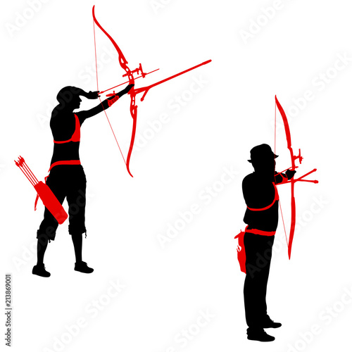 Photo Set silhouette attractive female and male archer bending a bow and aiming in the