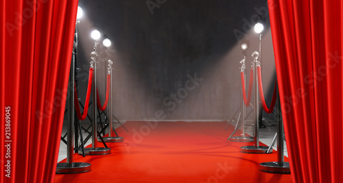 fototapeta na lodówkę Red carpet, rope barriers and spot lights behind curtains indoors