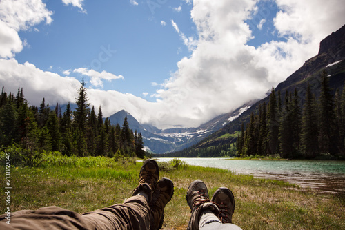 Fotografia, Obraz  Taking Time out from Hiking to Stop and Smell the Roses   Glacier National Park