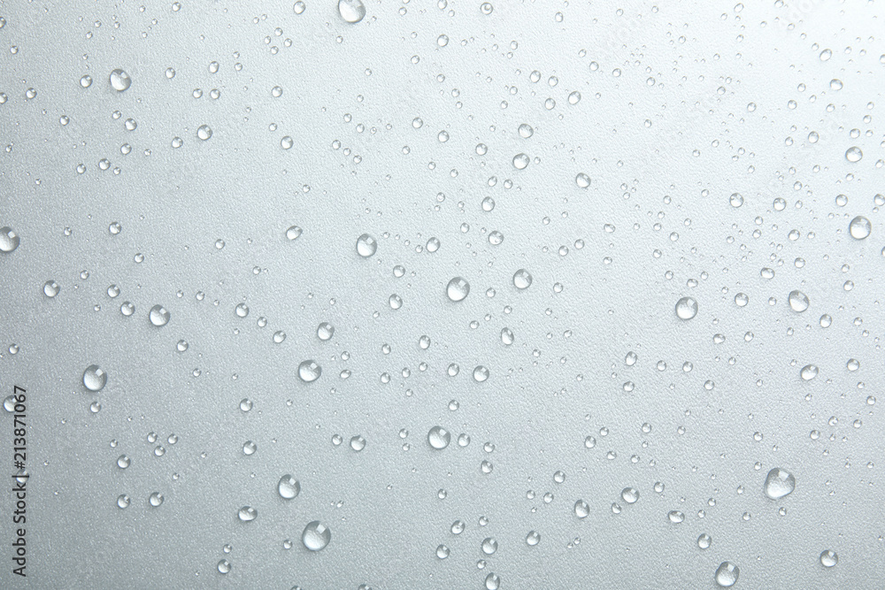 Fototapety, obrazy: Many clean water drops on grey background
