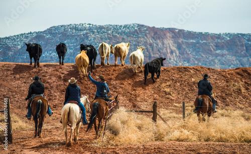Fotografie, Obraz  Ranchers herding cattle, Southern Utah