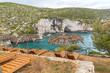 Amazing Panorama of Limnionas beach at Zakynthos island, Greece