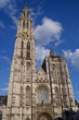 Cathedral of our lady in Antwerp, Belgium under clear blue sky in Sunny good weather day in spring