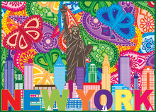 New York Skyline Text Paisley ...