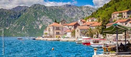Foto op Aluminium Mediterraans Europa Historic town of Perast at Bay of Kotor in summer, Montenegro