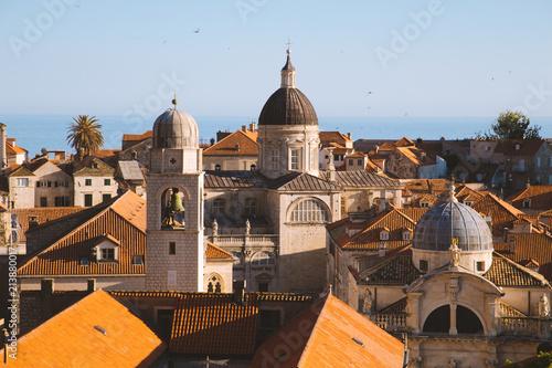 Poster Centraal Europa Dubrovnik terra cotta rooftops at sunset, Dalmatia, Croatia
