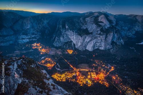 Yosemite Valley at night, California, USA Canvas Print