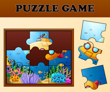 Educational Puzzle Game For Preschool Children With Cartoon Submarine Beautiful Underwater World