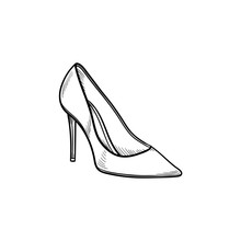 High Heel Shoe Hand Drawn Outl...