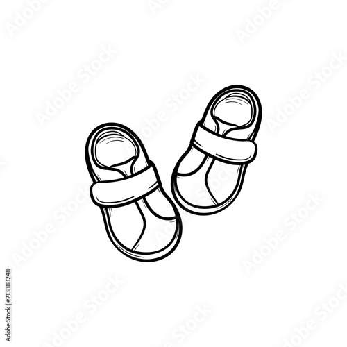 8b85193184db Baby shoes hand drawn outline doodle icon. Footware