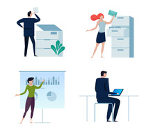 Set Of Business People Or Office Workers, Man And Woman, In Various Characters And Activities, Simple Design. Copy, Folder File,presentation,working On Laptop