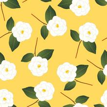 White Camellia Flower On Yellow Background