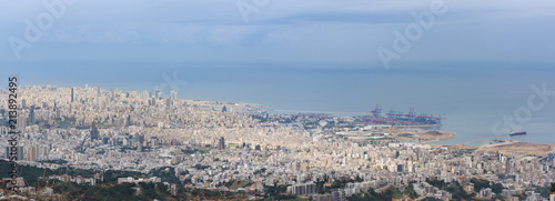 Fotografering Beirut, Lebanon - 26 Feb 2018: Panorama of capital city Beirut, from Beit Mery viewpoint, with the city centre and port along the Mediterranean sea coastline in Beit Mery, Lebanon