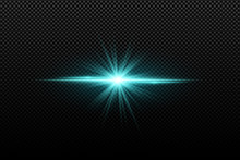 Abstract Bright Stylish Light Effect On A Transparent Background. Bright Glowing Star. Multicolored Flares. Blue Rays. Colorful Flash. Vector Illustration