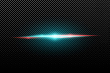 Light Effect On A Transparent Background. Horizontal Red An Blue Flash. Multicolored Flares. Blue Rays. Vector Illustration