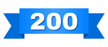 200 Text On A Ribbon. Designed With White Caption And Blue Stripe. Vector Banner With 200 Tag.