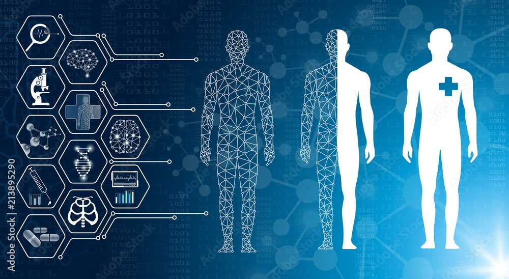 Fototapeta abstract background technology concept in blue light,brain and human body heal ,technology modern medical science in future and global international medical with tests analysis clone DNA human