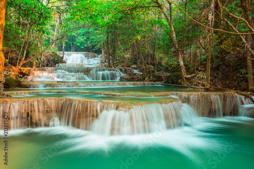 Spoed Foto op Canvas Grijze traf. beautiful waterfall in forest, Kanchanaburi province, Thailand