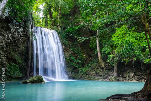 Küchenrückwand aus Glas mit Foto Wasserfalle Erawan waterfall in Thailand National Park
