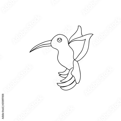 Little cute hummingbird kids coloring page line art isolated ...