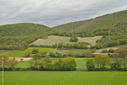Foto op Canvas Bleke violet Scenic landscape of Sibilini national park in Umbria, Italy