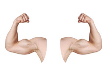 Cut Out Male Arms With Flexed Biceps Muscles Isolated On White