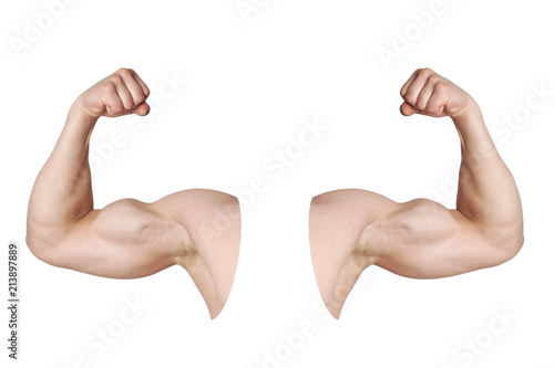 Leinwand Poster cut out male arms with flexed biceps muscles isolated on white