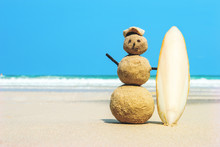 Surfer With Surfboard On Sand ...
