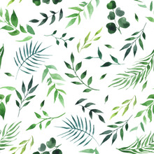 Green Leaves Watercolor Seamless Pattern Vector