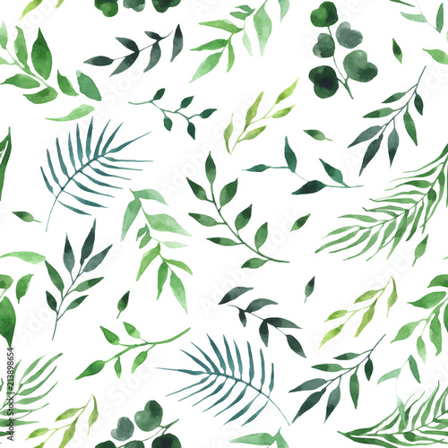 green-leaves-watercolor-seamless-pattern-vector